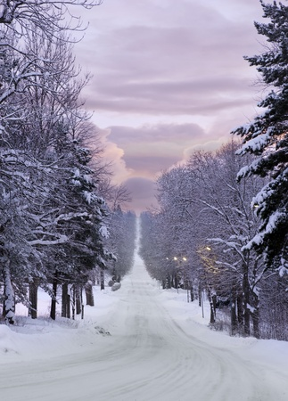 Long narrow road over a hill in puple evening winter light Stock Photo - 8513025