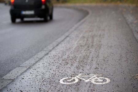 bicycle lane: Close up of bicycle sign  Stock Photo