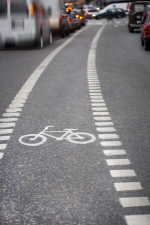Bicycle lane in a busy street
