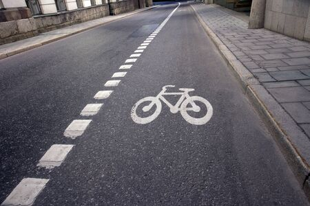 lanes: Bicycle lane in empty street in evening