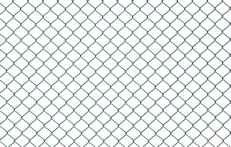 Green chain link fence isolated on white photo