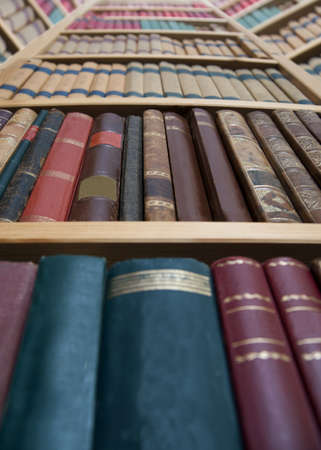 Low angle view of book case with vintage books Stock Photo - 8796194