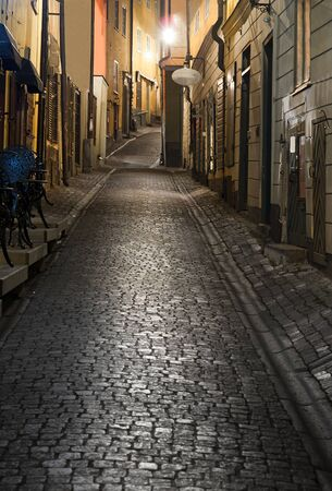 Narrow street in the old town of Stockholm at night Stock Photo - 8874308