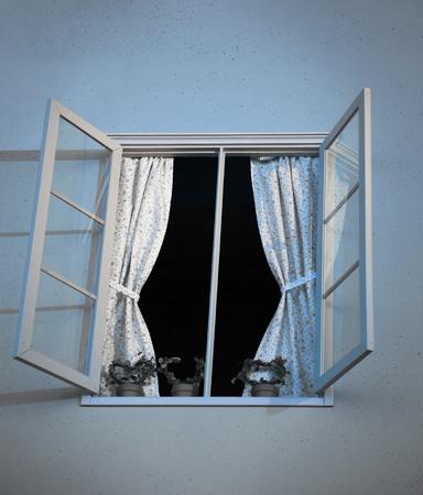 open window: Ventana abierta con cortinas y plantas de maceta
