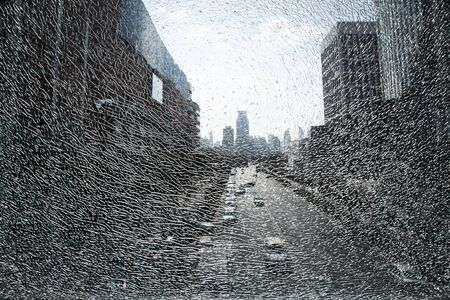 City landscape seen through shattered glass Stock Photo - 9152389