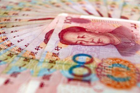 yuan: Close up of heap of hundred yuan notes