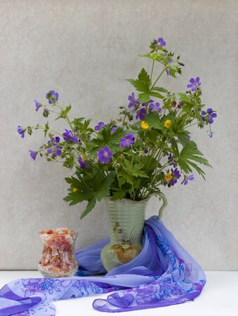 Still life with wild spring flowers in an antique vase Stock Photo - 9658132