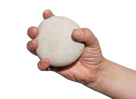 rock hand: primo piano di una mano che tiene la roccia
