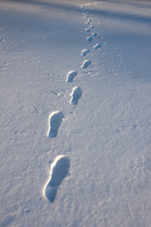 Footprints in a snow covered field photo
