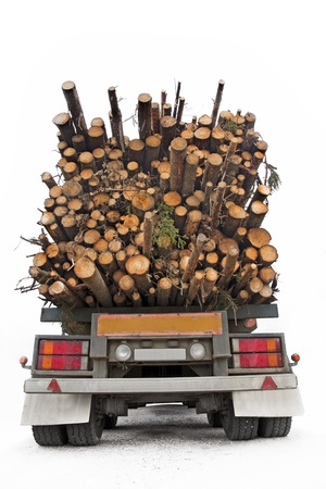 Back of truck loaded with timber photo