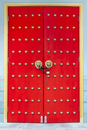 Chinese red wooden decorated door Stock Photo - 10080464