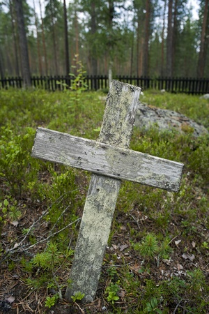 wooden cross: wooden cross on old grave yard Stock Photo