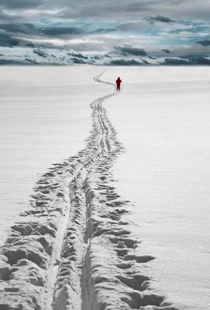 nordic ski: Cross country skier in red dress