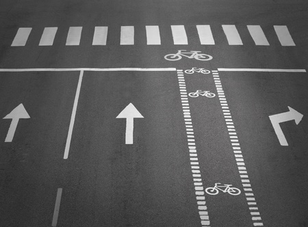 zebra crossing: street with lanes, arrows and a cycliing path