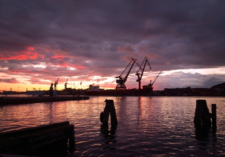gothenburg: Evening view of harbor area with cranes