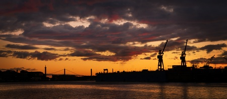 dockyard: Evening skyline in the harbor of Gothenburg, Sweden