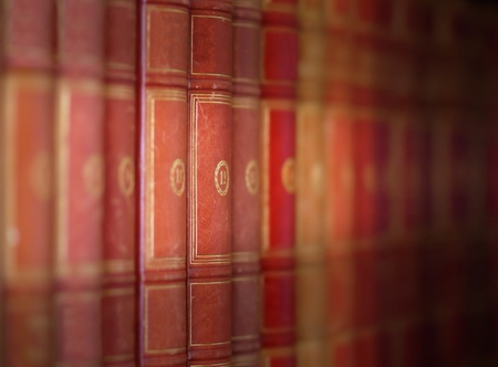 Vintage books with diminishing perspective and shallow DOF photo
