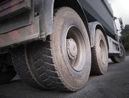 Low angle view of wheels of heavy truck Stock Photo - 10764141