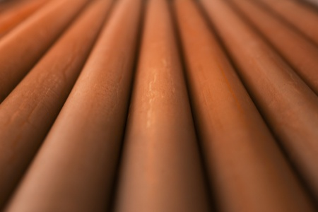 diminishing: Close up of rusty metal pipes with diminishing perspective