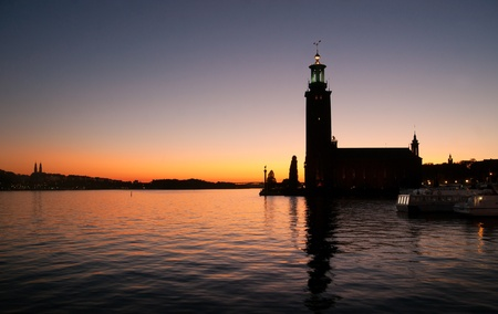 Stockholm City Hall - venue for the Nobel Prize ceremony - at sunset photo