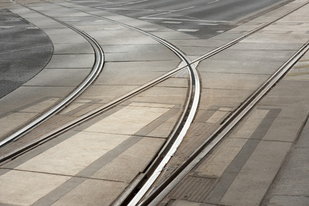 Curved double tracks of tram in street