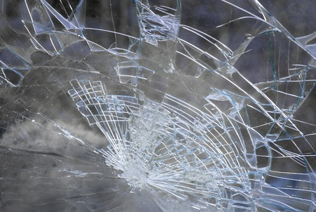 windscreen: Smashed windshield seen from inside the vehicle