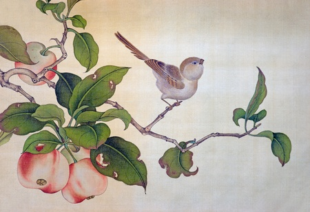 Detail from traditional chinese picture on canvas