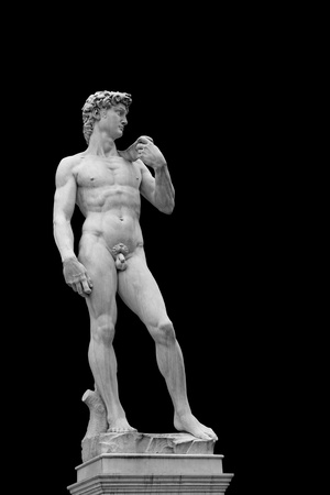 naked statue: Statue of David isolated on black. Copy of original in Florence, Italy  Stock Photo