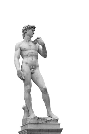 artistic nude: Statue of David isolated on white. Copy of original in Florence, Italy