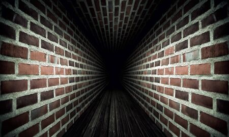 Dark tunnel with brick walls and wooden floor photo