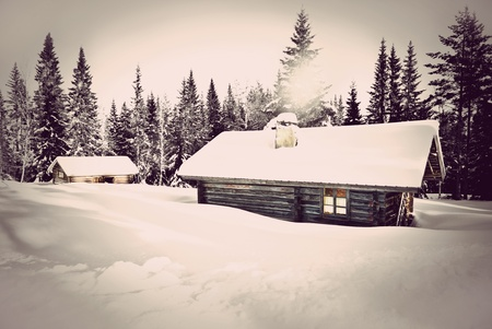 log cabin in snow: Remote log cabin in winter with vintage look