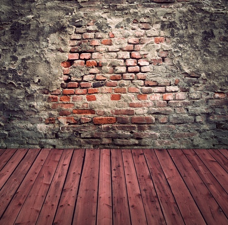 Interior with ancient brick wall and wooden floor Stock Photo - 12010928