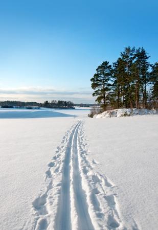 Cross country ski track in rural landscape photo