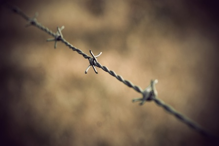 Close up of barbed wire with vintage look Stock Photo