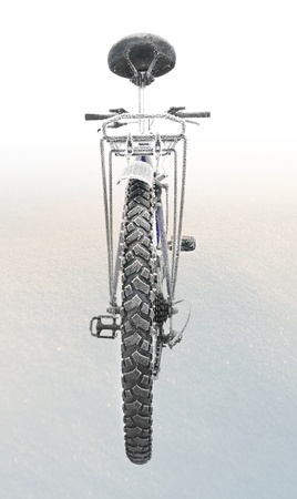 rear wheel: Rear view of bike with rime frost on snow background Stock Photo