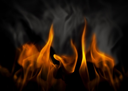 inferno: Inferno with yellow flames and black and gray smoke Stock Photo