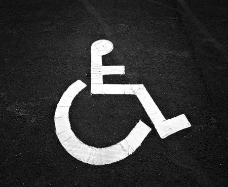 disabled parking sign: parking sign for disabled people on asphalt