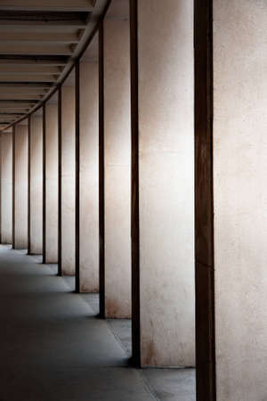 light columns: Row of modern columns with diminishing perspective