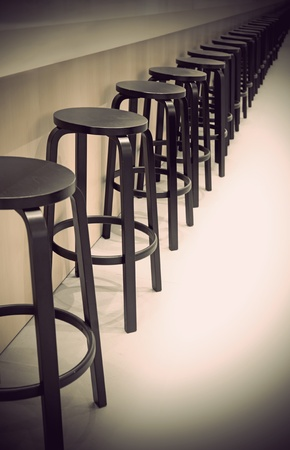 Row of empty bar stools with vintage look Stock Photo - 13007929