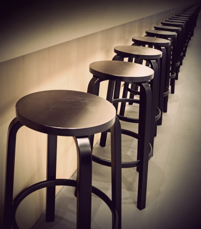 Row of empty bar stools with vintage look Stock Photo - 13007928