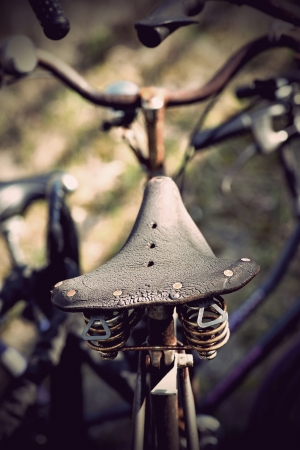 Close up of vintage leather bicycle seat