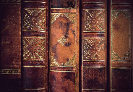 background of backs of vintage leather books Stock Photo - 13406168