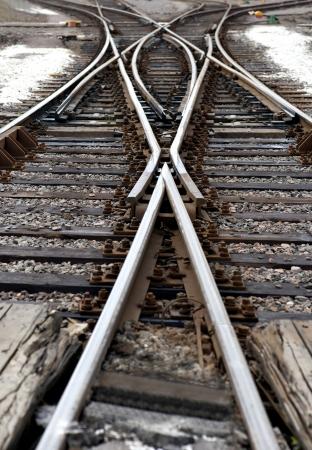 Zbliżenie węzła kolejowego z przełącznikiem