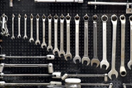 Wall with many tools in workshop