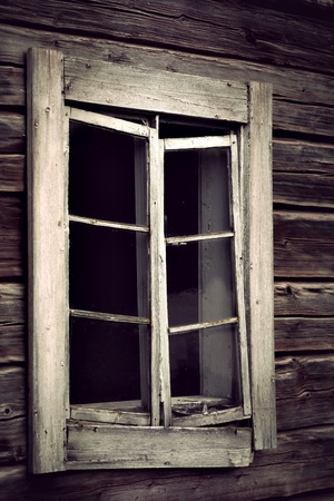 tatty: Window in poor condition  on old building Stock Photo