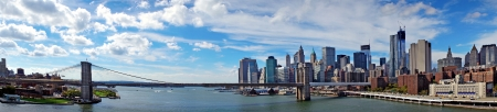 Panoramic view of Brooklyn Bridge in New York on sunny day