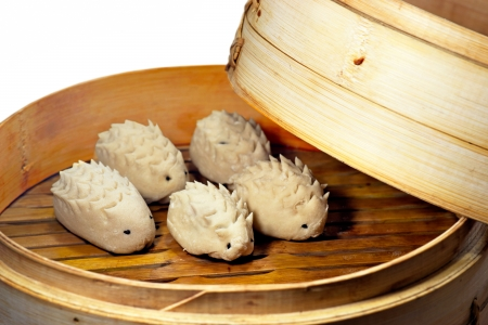 dumpling: Creative chinese cooking with steamed dumplings in the shape of hedge hogs