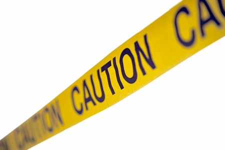 access restricted: Caution yellow tape isolated on white Stock Photo