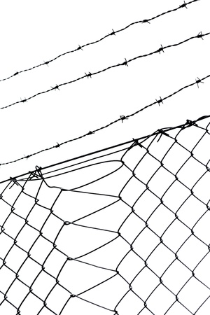 chainlink: Barbed wire and chainlink fence on white Stock Photo