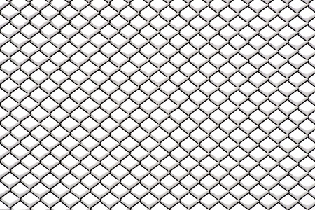 metal grid: Chainlink fence with snow on neutral background